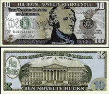 $10 Ten Dollar Bill Fake Play Funny Money House Novelty Reserve Note FREE SLEEVE