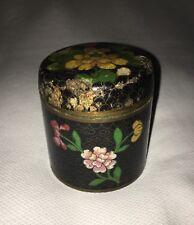 "Vintage Chinese Cloisonné Enamel Painted Metal Trinket Box Flowers 3 1/4"" x 3"""