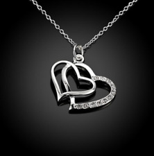 """Womens 925 Sterling Silver CZ Crystal Double Heart 18"""" Chain Necklace #NE108"""