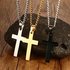 3pcs Lot Silver Black Gold Men's Stainless Steel Cross Pendant Necklace Chain
