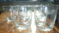 Vintage Etched Juice glasses weighted bottom 6 7 ounce wheat design glasses