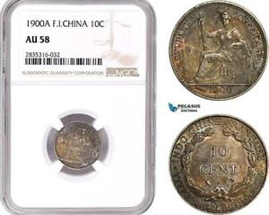 AE111, French Indo-China, 10 Centimes 1900-A, Paris, Silver, NGC AU58