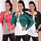 NEW Womens Ladies Sexy Long Sleeve Top Blouse T shirt Size UK 8 10 12 / XS S M