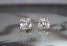 Created Diamond Princess Cut Screw Back Stud Earrings 14K Yellow Gold 1TCW