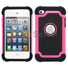 NEW Hybrid Rugged Rubber Hard Case for Apple iPod Touch 4 4th Gen Pink 50+SOLD