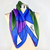 VTG Vera Neumann Jewel Colors Square Scarf Hand Rolled Silk Mid Century Design