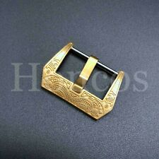 22 MM Gold Engraved Screw in Buckle Watch Band Strap Brushed Clasp Fits Panerai