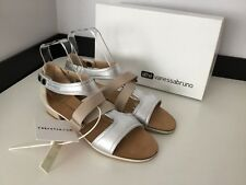 Athe Vanessa Brand New Bnib Sandals Flats Shoes Size 39 Uk 6 €295 Silver Nude