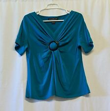 Monterey Bay women's blouse aqua with gathered waist and short sleeve L