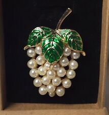 Brooch (Grapes in faux pearls with enameled alloy leaves)
