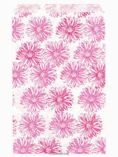 200 Pink Floral Paper Bags,Flat: 6 x 9 inches, Pink Flowers on White Paper, 6x9""