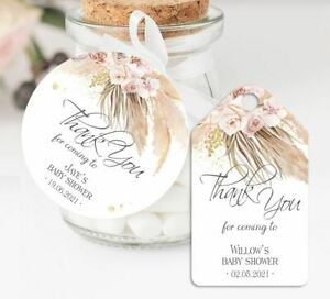 10 x Personalised Thank You Baby Shower Favour Tags PP