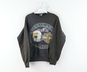 Vintage 80s Harley Davidson Mens Small Eagle Spell Out Thrashed Sweatshirt USA