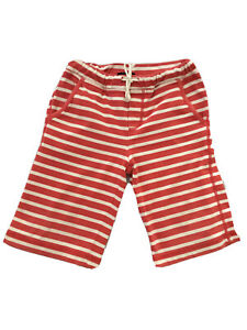 Mini Boden Boys Long Shorts Red White 4-5 Years Cotton Tie Elastic Waist