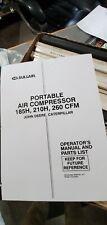 Sullair Portable Air Compressor 185h 210h 260cfm Operators Manual Amp Parts List