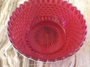 "1800's Rare Thomas Webb Cranberry Art Glass Crystal Bowl 8.25"" Diameter, Signed"