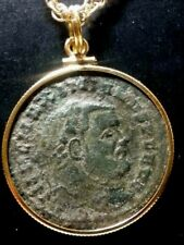 Maximianus Large 28mm Authentic Ancient Roman Coin Gold-Filled Pendant Necklace