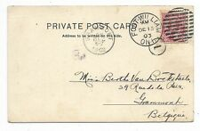 FORT WILLIAM ONT. Duplex Cancel - 2 cents post card rate to Belguim Circa 1903