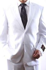 MENS SINGLE BREASTED 2 BUTTON WHITE DRESS SUIT SIZE 40L, PL-60212N-212-WHT