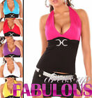 New Sexy Womens Halter Top Shirt Size 6-8-10 Ladies Summer Casual Club Wear XS S