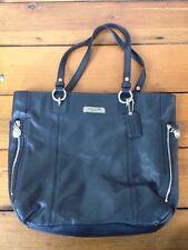 Coach Black Genuine Leather Chrome Shiny Zippers Handbag Shoulder Purse