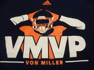 "Von Miler Adidas Climalite ""VMVP"" Navy Blue T-Shirt Large Denver Broncos"
