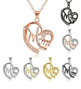Silver Love Heart Mom Pendant Chain Necklace Cubic Zircon Mum Mother's Day Gift