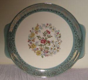 """Vintage 12"""" Serving Platter Green/Gold/Cream Handles Floral #DH48"""