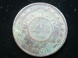 PARAGUAY 4 CENTESIMOS 1870 BROWN DETAILS SHARP 3944# WORLD MONEY COIN