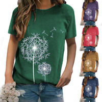 Women Round Neck Short Sleeve Solid Dandelion print T-Shirt Casual Loose Tops