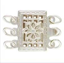 925 Sterling Silver 8x11mm Rectangular Filigree Pearl 3 Row Clasp 1set  #5308-3