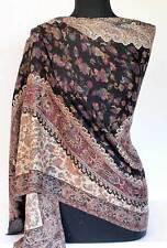 Black & Wine Kani Shawl Hand-Cut Wool Rich Details Jacquard Jamawar Stole