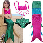 Niña Cola De Sirena Nadar Monoaleta Bikini Ropa baño Traje Disfraz 3 PZAS Set