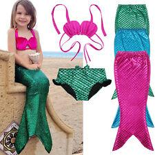 Cute Girl Kids Mermaid Tail Swimmable Bikini Set Bathing Suit Fancy Costume 3-9Y