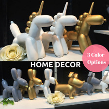 Unicorn Dog Decor Gold Whit Grey Sculpture Home Tabletop House Warming Gift