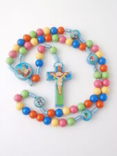 Blue Cord Rosary Beads Catholic Kids children Communion Gifts + colour booklet
