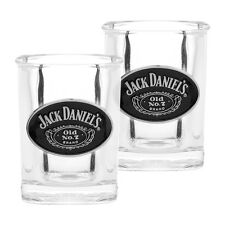 JACK DANIELS Shot Glasses Set of 2 Metal BADGED Man Cave Fathers Bar Gift 482D