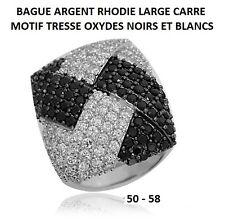 BAGUE RHODIE LARGE CARRE MOTIF TRESSE OXYDES NOIRS ET BLANC en Argent Massif 925