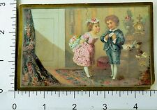 1880s Kids Showing Affection Lovely Scenes Gifts Victorian 4 Trade Card Set K111