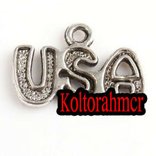 60pcs  Lots Antique Silver Tone USA Letter Charms Pendants