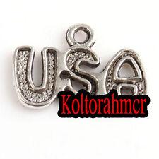 60pcs lots antique silver tone USA lettre charmes pendentifs