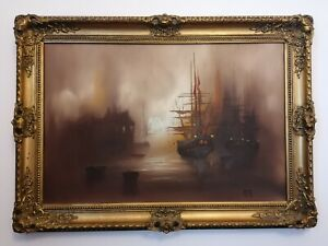 Barry Hilton Original Oil Painting of a naval scene in an ornate gilt frame