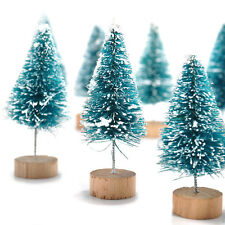 New Chic 12Pcs Mini Sisal Bottle Brush Christmas Trees Snow Frost Village Decor
