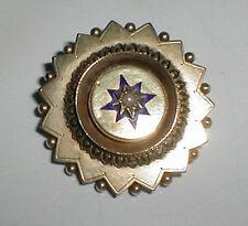 Victorian 9ct 9k Gold Cobalt Enamel Pearl Target Memorial Mourning Brooch Pin