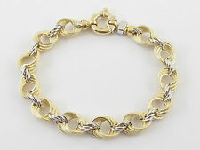 """18K Yellow And White Gold Braided Link Toggle Lock Bracelet 7 3/4 """"  14 grams"""