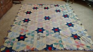 Vintage Hand Pieced Six Point Star Quilt Top Indigo Blue Stars With Red Centers