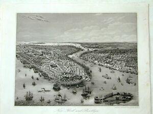 New York Brooklyn Amerika USA Original Stahlstich steelengraving 1853
