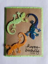 Birthday Card -What child would not want to receive  a shimmering gecko card!