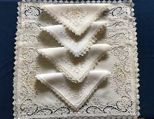 Antique/Vtg Fine Italian Linen Point de Venise Needlelace Placemat*Napkins*4-Set