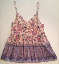 See by Chloé Paris Small 4 France SILK Tank Top Blouse Floral Pink White Boho S